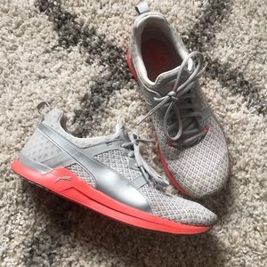 PUMA Grey & Coral Knitted Training Shoes - EUC